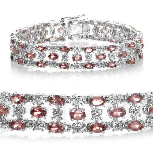 Malaya Garnet (Ovl), Diamond Bracelet in Platinum Overlay Sterling Silver (Size 7.5) 13.016 Ct.