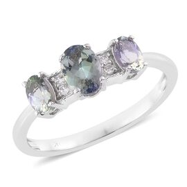 9K White Gold 1.00 Ct AA Natural Green Tanzanite Ring with Natural Cambodian Zircon