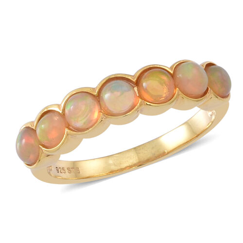 Ethiopian Welo Opal (Rnd) 7 Stone Ring in 14K Gold Overlay Sterling Silver 1.250 Ct.