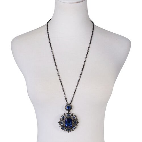 Blue Glass, Blue and Grey Austrian Crystal Necklace (Size 30) in Black Tone