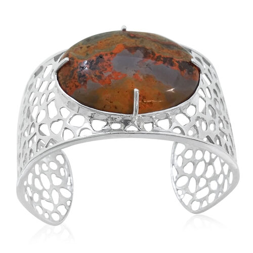Limited Edition-Natural Russian Eudialyte (Ovl) Bangle (Size 7.5) in Platinum Overlay Sterling Silver 45.000 Ct. Silver Weight 30 Gms.