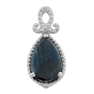 Spectrolite (Pear) Solitaire Pendant in Platinum Overlay Sterling Silver 2.000 Ct.