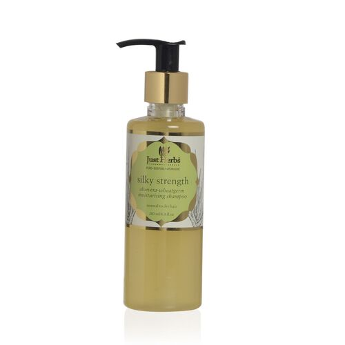 (Option 2) Just Herbs Silky Strength Aloevera-Wheatgerm Moisturising Shampoo (200 ml), Javakusum Hair Oil (100 ml) and Kumuda Conditioner (200g) (Dry Dull Hair)