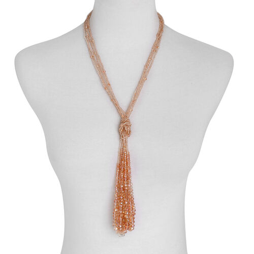 Simulated Champagne Diamond Beaded Necklace (Size 42)