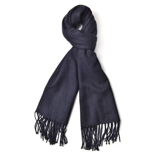 Italian Designer Black Colour Stripes Pattern Scarf with Tassels (Size 180x65 Cm)
