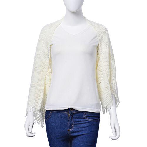 White Colour Check Pattern Poncho (Size 120x25 Cm)