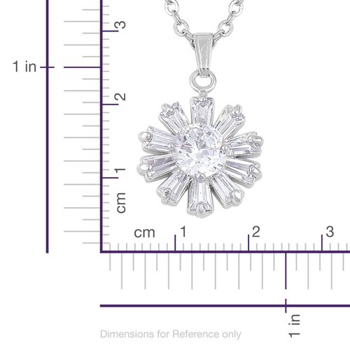 AAA Simulated White Diamond Floral Pendant With Chain and Earrings in Silver Tone