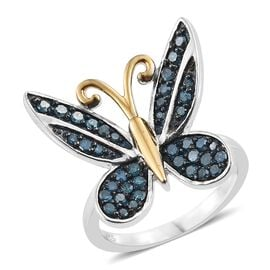 Blue Diamond (Rnd) Butterfly Ring in Blue, Platinum and Yellow Gold Overlay Sterling Silver 0.500 Ct. Silver wt 5.74 Gms.