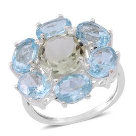 Designer Inspired-Green Amethyst (Rnd), Sky Blue Topaz Flower Ring in Sterling Silver 11.000 Ct.