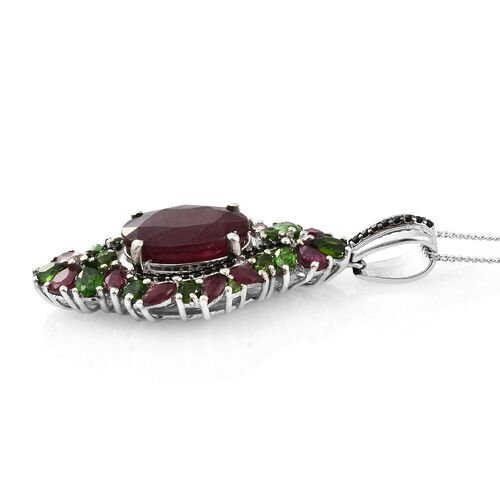 Limited Edition - Designer Inspired- AAA Rare African Ruby (Ovl 14X10 8.20 Ct), Russian Diopside and Black Spinel Pendant with Chain in Platinum Overlay Sterling Silver 12.000 Ct. Silver wt 6.10 Gms.