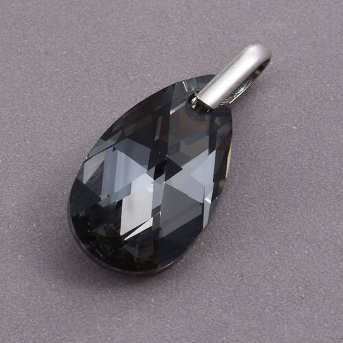 J Francis Crystal from Swarovski - Black Crystal (Pear) Pendant in Platinum Overlay Sterling Silver
