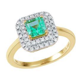 WEBEX- ILIANA 18K Y Gold AAA Boyaca Colombian Emerald (Oct 1.00 Ct), Diamond (SI/G-H) Ring 1.500 Ct.