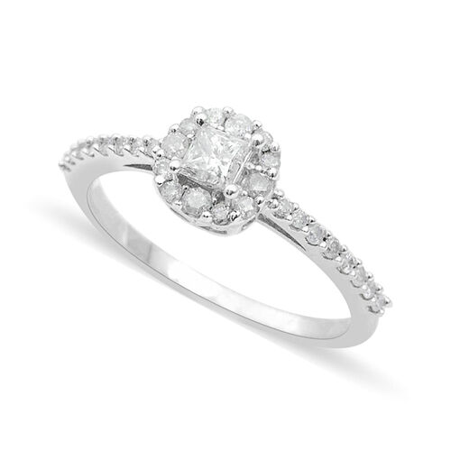 9K White Gold SGL Certified 0.50 Carat Diamond Princess I3 G-H Engagement Ring.