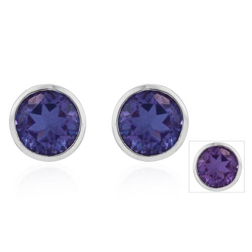 Lavender Alexite (Rnd) Stud Earrings (with Push Back) in Platinum Overlay Sterling Silver 5.000 Ct.