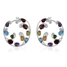 GP Rhodolite Garnet (Ovl), Mozambique Garnet, Electric Swiss Blue Topaz, Hebei Peridot, Citrine, Amethyst and Multi Gem Stone Hoop Earrings (with Clasp) in Platinum Overlay Sterling Silver 11.500 Ct.