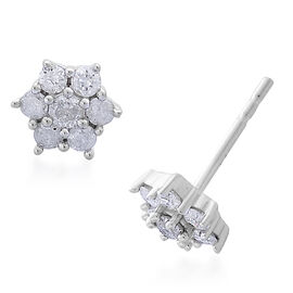 9K White Gold 0.50 Carat Diamond Floral Stud Earrings (with Push Back) SGL Certified (I3/G-H)