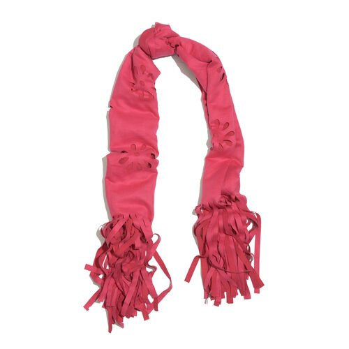 Italian Designer Inspired-Laser Cut Pattern Pink Colour Scarf with Fringes (Size 120x70 Cm)