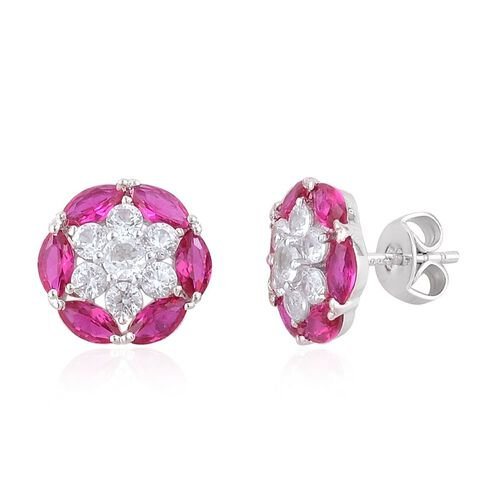AAA Burmese Ruby (Mrq), Natural Cambodian Zircon Stud Earrings (with Push Back) in Platinum Overlay Sterling Silver 3.580 Ct.