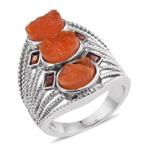 Jalisco Fire Opal (Ovl), Mozambique Garnet Ring in ION Plated Stainless Steel Bond 4.250 Ct.