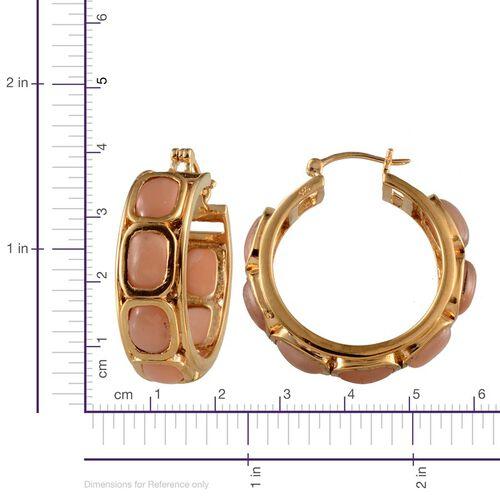 Mitiyagoda Peach Moonstone (Cush) Hoop Earrings in 14K Gold Overlay Sterling Silver 24.500 Ct.