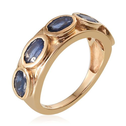 Kanchanaburi Blue Sapphire (Ovl) 5 Stone Ring in 14K Gold Overlay Sterling Silver 2.500 Ct.