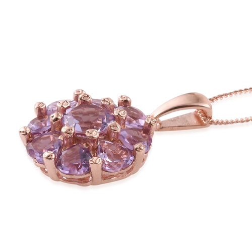 Rose De France Amethyst Floral Pendant With Chain in Rose Gold Overlay Sterling Silver 4.250 Ct.