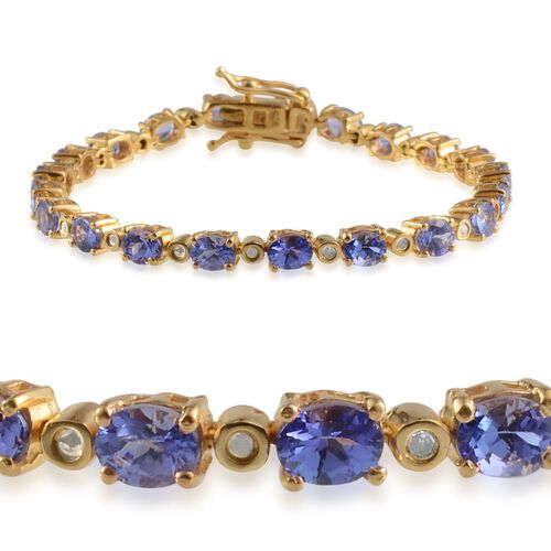 AA Tanzanite (Ovl), Diamond Bracelet (Size 6.5) in 14K Gold Overlay Sterling Silver 7.400 Ct.