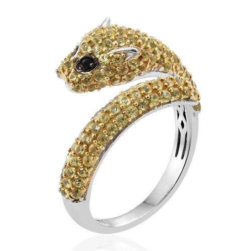 Designer Inspired-Chanthaburi Yellow Sapphire (Rnd), Black Sapphire Leopard Ring in Yellow Gold and Platinum Overlay Sterling Silver 2.750 Ct. Number of Gemstone 131