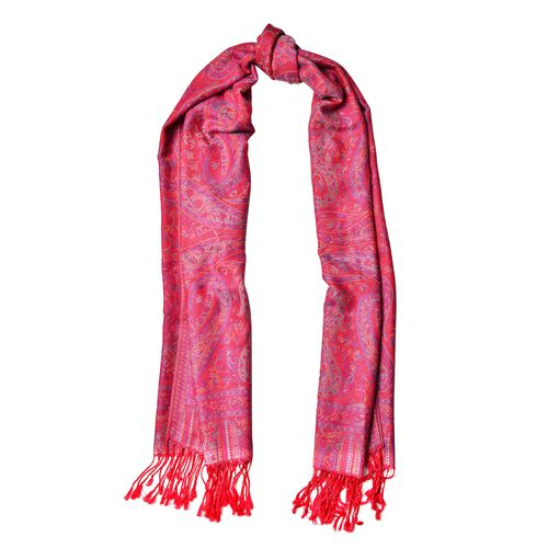Red, Pink and Multi Colour Paisley Pattern Scarf with Tassels (Size 170X68 Cm)