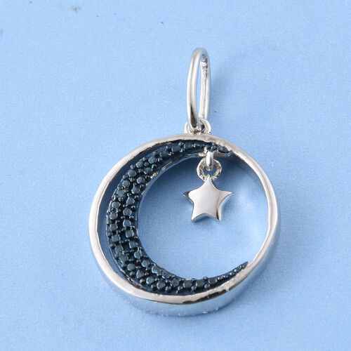 Blue Diamond (Rnd) Half Moon with Star Charm Pendant in Platinum Overlay Sterling Silver