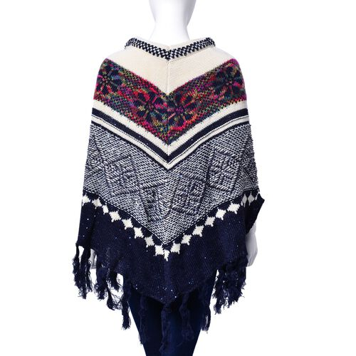 Limited Available - Navy, White and Multi Colour Floral Pattern Poncho with Squins and Tassels (Size 85x70 Cm)