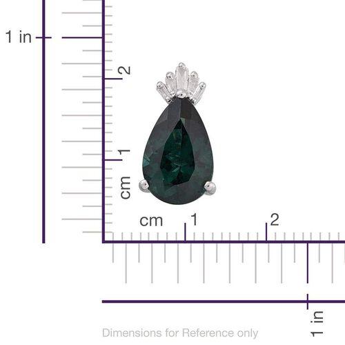 9K W Gold Ocean Blue Apatite (Pear 3.55 Ct), Diamond Pendant 3.650 Ct.