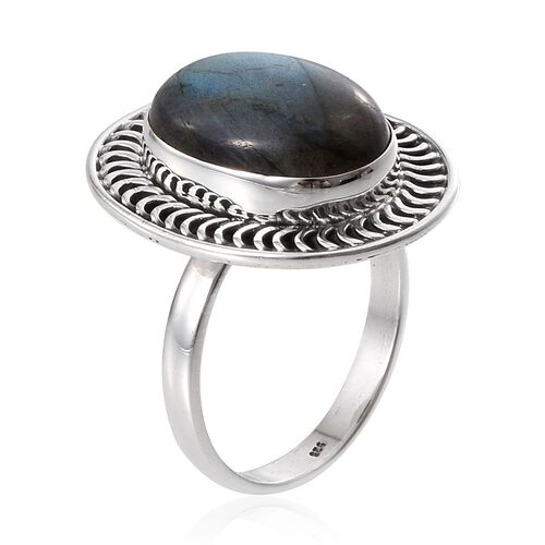 Designer Inspired Labradorite (Ovl) Solitaire Ring in Sterling Silver 8.330 Ct
