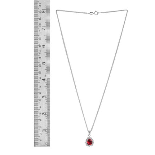 Close Out Deal ELANZA AAA Simulated Ruby (Pear), Simulated Diamond Drop Pendant With Chain in Rhodium Plated Sterling Silver
