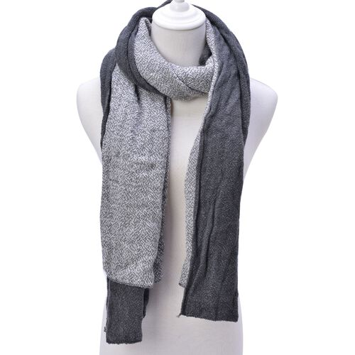 Grey and White Colour Scarf (Size 210x70 Cm)
