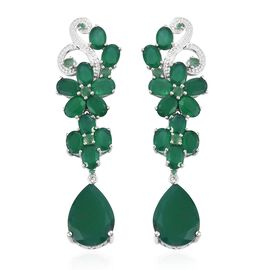 Verde Onyx (Ovl and Pear), Kagem Zambian Emerald Earrings (with Push Back) in Platinum Overlay Sterling Silver 33.000 Ct, Silver wt 13.75 Gms.