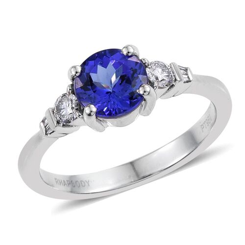 RHAPSODY 950 Platinum 1.65 Carat AAAA Tanzanite Round, Diamond VS E-F Ring.