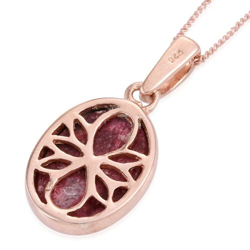Norwegian Thulite (Ovl) Solitaire Pendant With Chain in Rose Gold Overlay Sterling Silver 6.500 Ct.