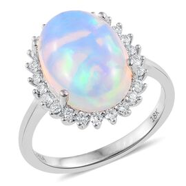 ILIANA 18K White Gold 5 Carat AAAA Ethiopian Welo Opal (Ovl 4.70 Ct), Diamond (SI/G-H) Ring