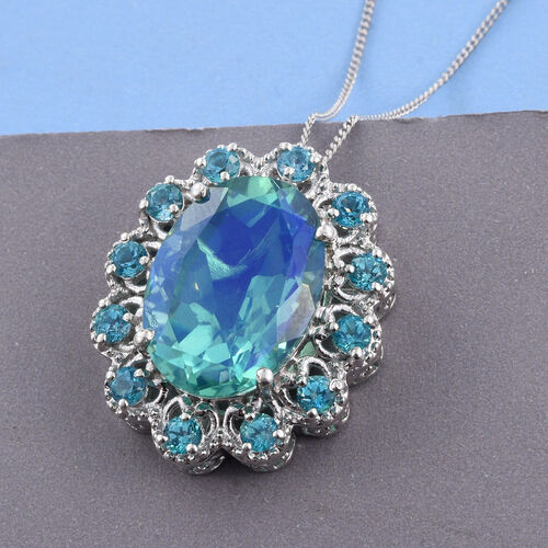 Peacock Quartz (Ovl 13.50 Ct), Signity Pariaba Topaz Pendant With Chain in Platinum Overlay Sterling Silver 16.000 Ct.