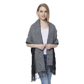Close Out Deal- Black and White Colour Houndstooth and Stripes Pattern Reversible Scarf with Tassels (Size 180X60 Cm)