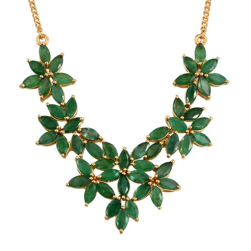 Kagem Zambian Emerald (Mrq) Floral Necklace (Size 18) in 14K Gold Overlay Sterling Silver 11.000 Ct.