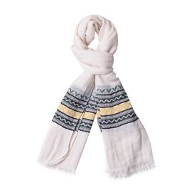 New Season-White, Green and Multi Colour Zigzag Pattern Scarf with Fringes (Size 180X65 Cm)