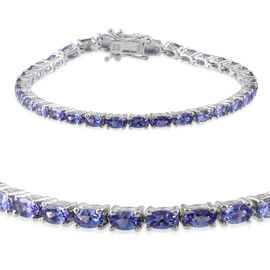 7.82 Ct Tanzanite Tennis Bracelet in Rhodium Plated Silver 11.61 gms 8 Inch