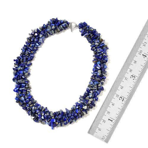 Designer Inspired - Hand Set Lapis Lazuli Necklace (Size 18 with 2 inch Extender) in Silver Tone and Stretchable Bracelet (Size 7.5) 870.00 Ct.