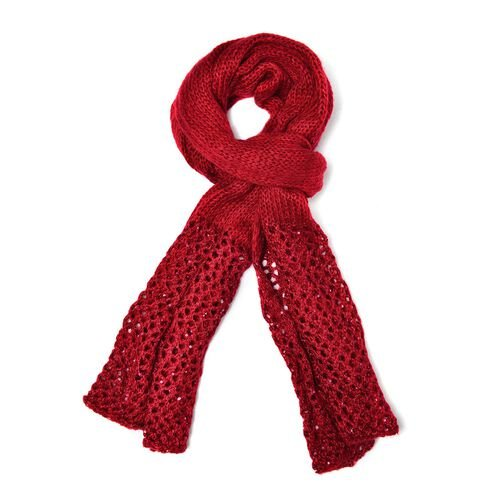 Red Colour Knitted Scarf with Net Design and Sequins at the Bottom (Size 180x60 Cm)