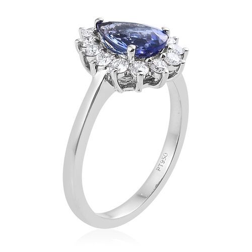 RHAPSODY 950 Platinum AAAA Tanzanite (Pear 1.650 Ct), Diamond (VS/E-F) Ring 2.250 Ct, Platinum wt 6.23 Gms.