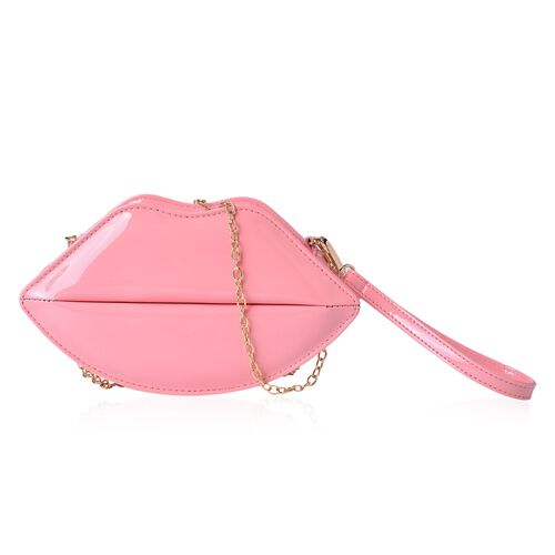 Pink Colour Lip Design Crossbody Bag with Chain Strap (Size 24.5x13.5x7 Cm)