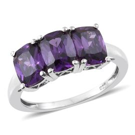 ELANZA AAA Simulated Amethyst (Cush) Trilogy Ring in Platinum Overlay Sterling Silver