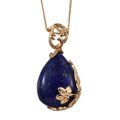 Stefy Lapis Lazuli (Pear 16.25 Ct), Pink Sapphire Pendant With Chain in 14K Gold Overlay Sterling Silver 16.270 Ct.